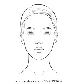 Vector woman face. Young beautiful girl with healthy skin. Black and white line sketch front portrait. Close up isolated on white.