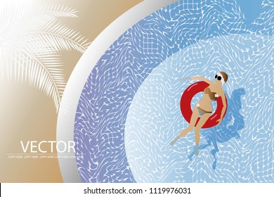 vector woman floating in the pool