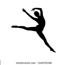 vector woman gymnast silhouette dance pose stock vector royalty