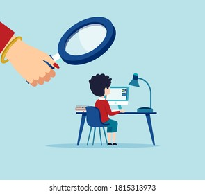 Vector of a woman looking through magnifying glass at a child using computer