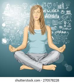 Vector woman meditating in lotus pose braistorming