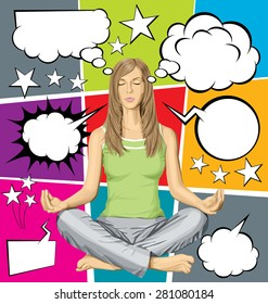 Vector woman meditating in lotus pose, and vector set of comics style speech and thought bubbles
