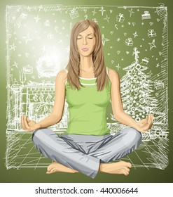 Vector woman meditating in lotus pose on Christmas