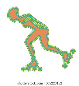 vector woman on skates silhouette. color sketch.white background