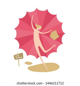 Vector woman person nudist banner element. Beach theme. Modern style flat joy female holding bag and umbrella isolated on white. Design for summer holiday, vacation, trip