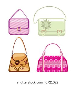 Vector woman purses and bags
