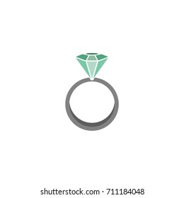 Vector woman ring icon with green and big dimond on white background for web and mobile