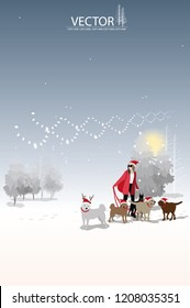 vector woman santa claus and her dog on winter background