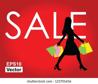 Vector : Woman With Shopping Bag And Word Sale On Red Glossy Style Background