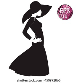 vector woman silhouette in black hat and black dress