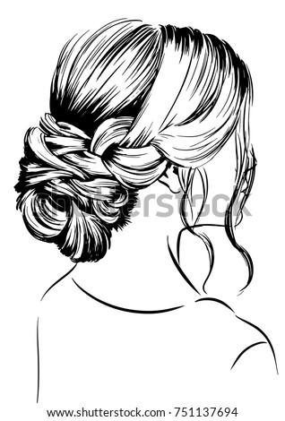 Vector Woman Sketch Elegant Bun Hairstyles Stock Vector Royalty