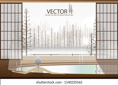 vector woman soaking in the bath tub on winter background