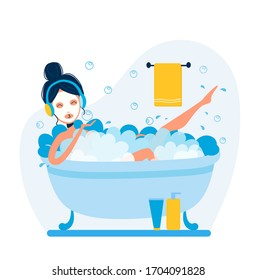 Vector woman is taking bath and listening to music in headphones. Bath accessories and soap bubbles in bath with a girl. Vector cartoon illustration on white isolated background.