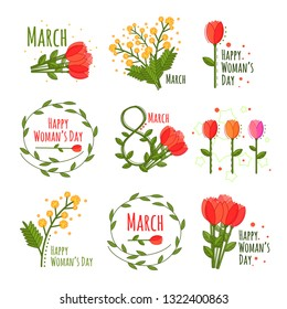Vector woman's day set in cartoon style on white background, great design for any purposes. Spring flat set. Flat design vector illustration. Vector natural illustration.