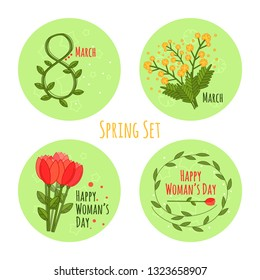 Vector woman's day set in flat style on white background. Set with stickers for flat design. Vector colorful cartoon 8 march. Holiday cards. Isolated vector illustration. Symbol, logo, sticker design.