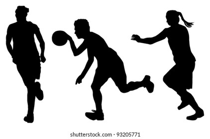 vector women basketball players silhouettes