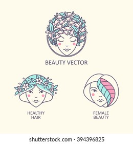 Vector women beautiful person with hairstyles of interwoven colors for interiors with organic cosmetics, can be used as a logo