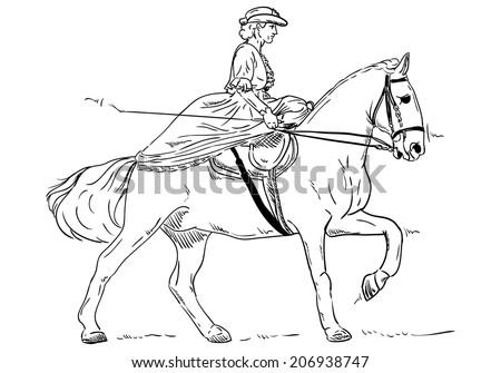 Vector Women Historical Horse Riding Stock Vector Royalty Free