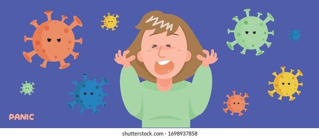 Vector - Women Panicked with the virus around her