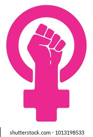 Vector women resist symbol. Isolated background.