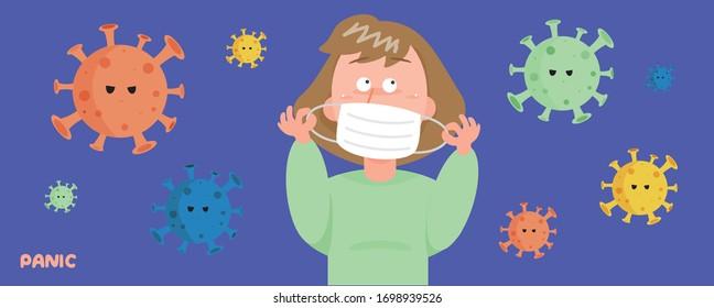 Vector - Women wearing masks Panicked with the virus around her