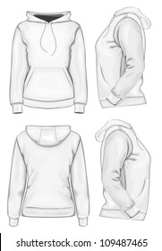 Vector. Women's hooded sweatshirt without zipper (back, front and side view)