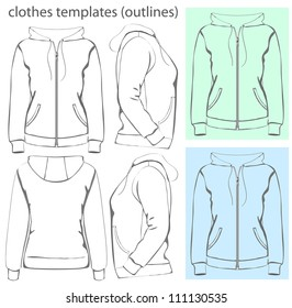 Vector. Women's hooded sweatshirt with zipper and pockets (back, front and side view). Outlines
