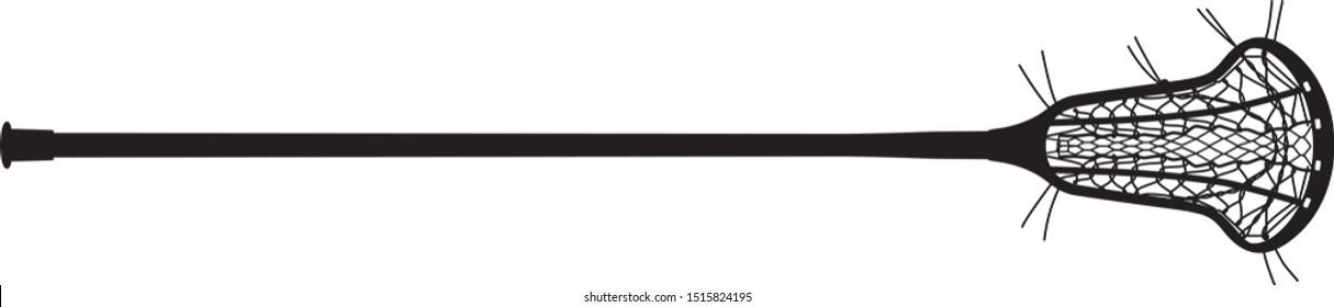 Vector of a women's lacrosse stick. Lacrosse head, pocket, and lacrosse shaft.