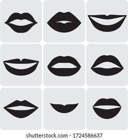 Vector women's lips silhouettes set