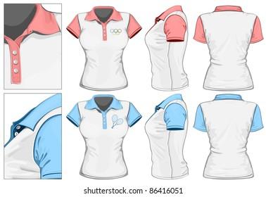 0b916ec00ae0 Women s polo-shirt design template (front