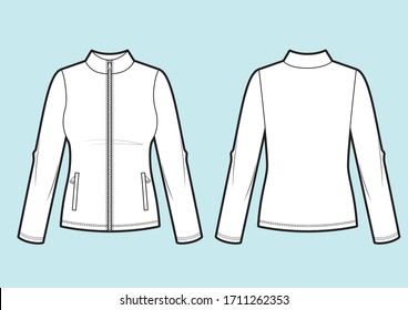 Vector. Women's sport sweatshirt with zipper (back, front and side view)