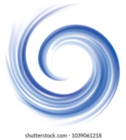 Vector wonderful futuristic soft curvy ultramarine rippled fond with space for text. Beautiful volute surface vivid deep cobalt iris color with glowing white center in middle of funnel