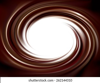 Vector wonderful mixed deep umber curvy backdrop with space for text. Beautiful volute fluid choco creamy surface with glowing white center in middle of funnel