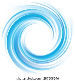 Vector wonderful swirling backdrop with space for text. Beautiful volute fluid surface vivid turquoise color with glowing white center in middle of funnel