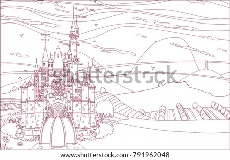 Vector Wonderland Coloring Book Page Fairytale Medieval Castle Fortress Castleview On Mountains Background