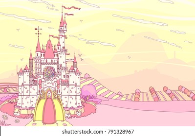 vector Wonderland fairytale medieval castle fortress. Castleview on mountains background. Cute palace view wallpaper for girl. Colorful kingdom landscape cartoon illustration. Fantasy graphic build 1