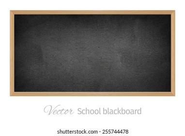 Vector wood black school blackboard. Isolated object.
