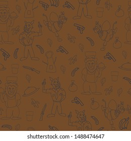 Vector wood brown fun anthropomorphic cartoon characters seamless pattern background