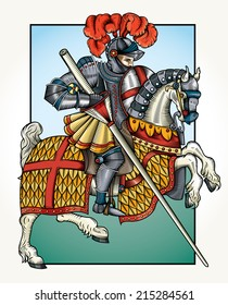 Vector wood cut style drawing of a Knight on horseback/Wood cut knight Color/ Easy to edit nice black and white grouped object vintage true wood cut style.