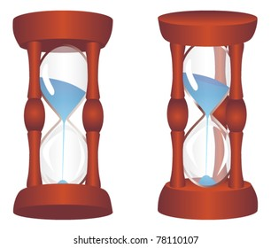 Vector wood hourglass on white background