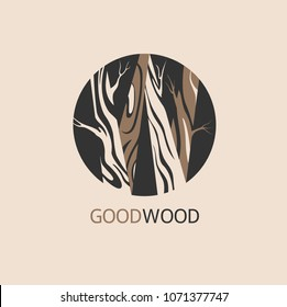 Vector wood logo design template. Abstract letter W logo design template with wooden texture, Logo design, Vector illustration, concept wood, sign, symbol, icon.