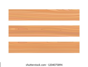 Vector wood plank isolated on white background board set