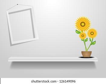 Vector wood shelf on wall flower.