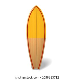 Vector wood surf board Summer Surfing Isolated realistic surfboard.