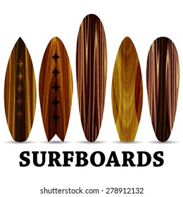Vector wood surf boards. Summer Surfing. Isolated realistic surfboard a set of icons