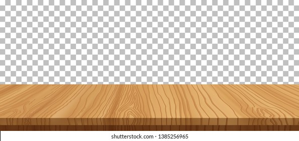 vector wood table top on transparent background.realistic wooden table, 3d. Element for your design, advertising.vector illustration.