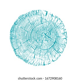 Vector wood texture of cracked rings pattern from a felled tree. Blue green wooden stump isolated on white.