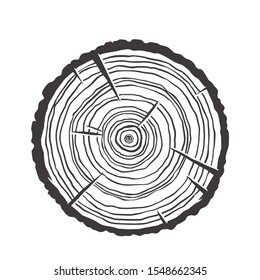 Vector wood texture of wavy ring pattern from a slice of tree. Monochrome wooden stump isolated on white