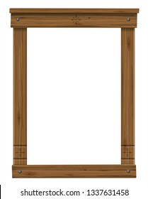 Vector. Wooden antique window or door frame. Scandinavian or Russian style. Ancient decor. Texture or background