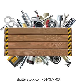 Vector Wooden Board with Car Spares